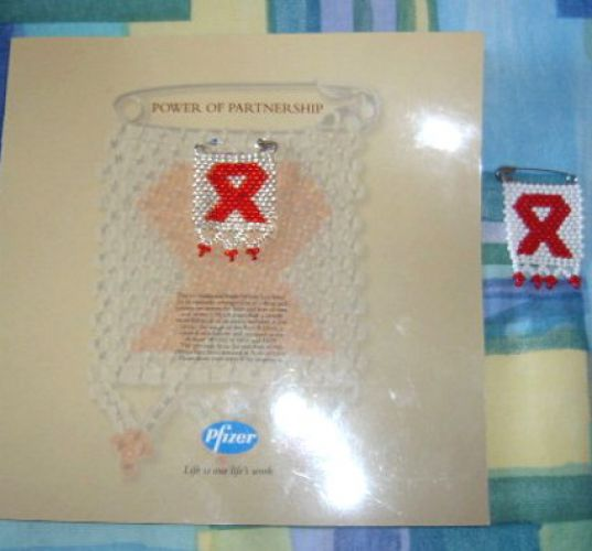Aids awareness badge for document