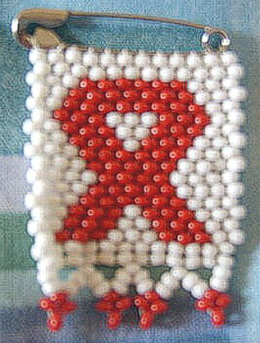Aids awareness badge - white Czech beads
