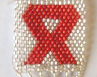 aids awareness badge - silver Taiwanese beads