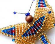 BEADED BUTTERFLY BROACH